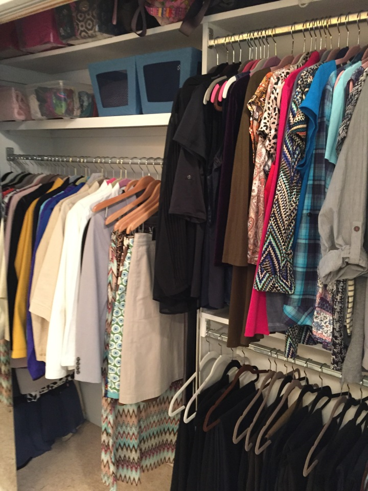 My main closet! Everything I will wear is here except for my shoes, and my winter coats.